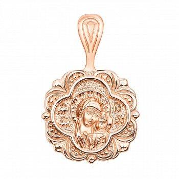 Ладанка из красного золота Божья Матерь с молитвой 000134767