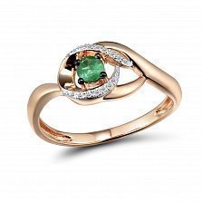 Кольцо из красного золота Тереза с бриллиантами и изумрудом