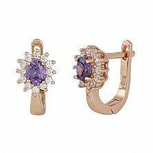 Серебряные серьги с фиолетовым цирконием Ирида