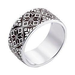 Серебряное кольцо с орнаментом и черной эмалью 000119297