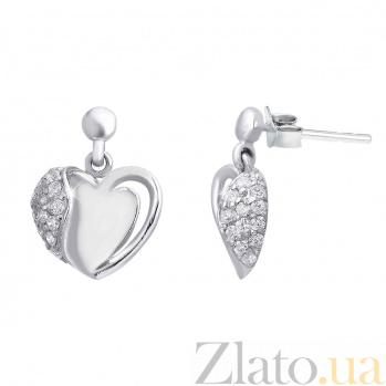 """Серьги-гвоздики из серебра """"Сердце"""" AQA--S228560070"""