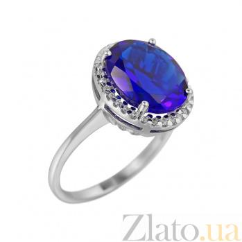 Серебряное кольцо Симона с ультрамариново-синим синтезированным кварцем и фианитами 000081575