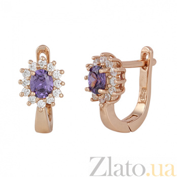 Серебряные серьги Анкария с фиолетовым и белым цирконием SLX--СК3ФА/375