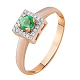 Золотое кольцо с изумрудом и бриллиантами Ангелина
