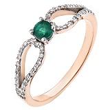 Золотое кольцо Летнее чудо с изумрудом и бриллиантами