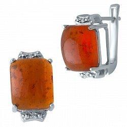 Серебряные серьги с янтарем и цирконием 000128456