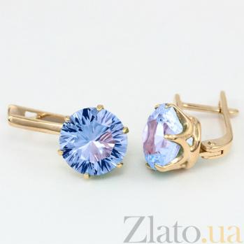 Золотые серьги с голубым топазом Корнелиа 000029462