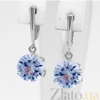 Золотые серьги в белом цвете с голубым топазом Азиза 000024400