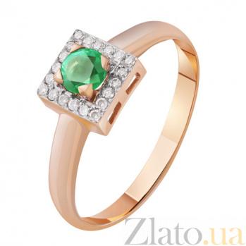 Золотое кольцо с изумрудом и бриллиантами Ангелина KBL--К1946/крас/изум