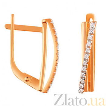 Золотые серьги с фианитами Сириль SUF--110370