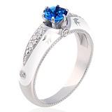Золотое кольцо Полет ласточек с сапфиром, бриллиантами и эмалью