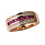 Кольцо из красного золота с рубинами и бриллиантами Биркан