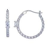 Серьги-кольца из серебра с цирконами