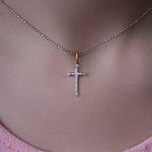 Золотой декоративный крестик Эжель с фианитами
