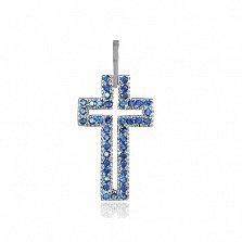 Серебряный крестик с фианитами Августа
