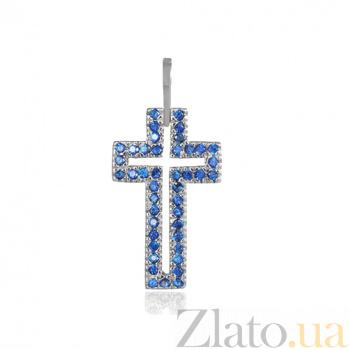 Серебряный крестик с фианитами Августа 000028608