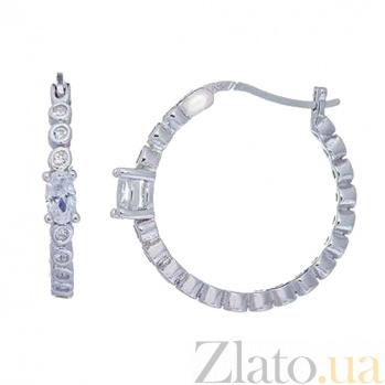 Серьги-кольца из серебра с цирконами AQA--XJT-0117-E