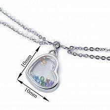 Серебряный двойной браслет Сердце малое с цветными плавающими фианитами,10x10мм