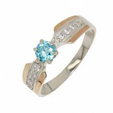 Серебряное кольцо с золотыми вставками и цирконием Настроение