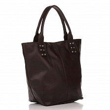 Кожаная сумка на каждый день Genuine Leather 8856 коричневого цвета на молнии с плечевым ремнем