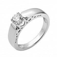 Серебряное кольцо Памела с кристаллом Swarovski и сердечком