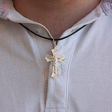 Серебряный православный крест Связь с узорной насечкой