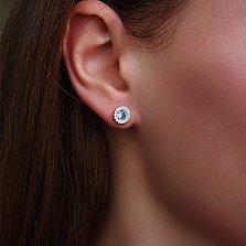 Серебряные серьги пуссеты Дария с голубым альпинитом и цирконием