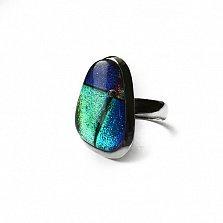 Серебряное кольцо с имитацией опала Морской пейзаж