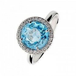 Золотое кольцо с топазом и плавающими бриллиантами Немезида