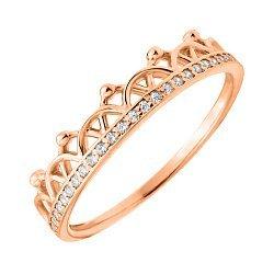 Кольцо-корона из красного золота с фианитами 000129732