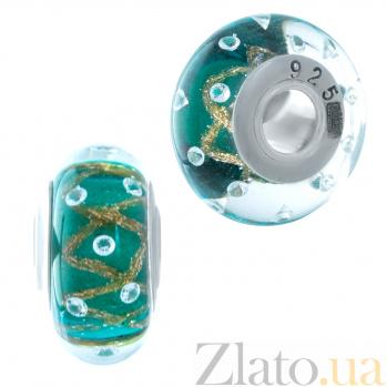Серебряный шарм Данута с зеленым муранским стеклом 000078355