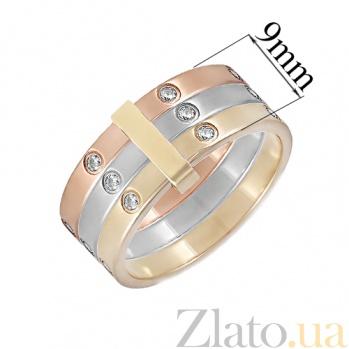 Золотое тройное кольцо с фианитами Одри ONX--к02205