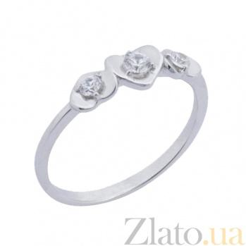 Кольцо из белого золота с фианитами Биение сердца 000022884