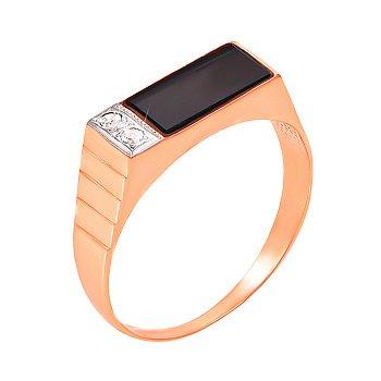 Перстень-печатка из красного золота с черным ониксом и фианитами 000004099