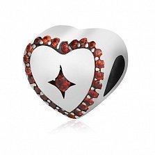 Серебряный подвес-шарм Сердечный с красными фианитами
