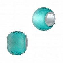 Серебряный шарм Утро с голубым муранским стеклом