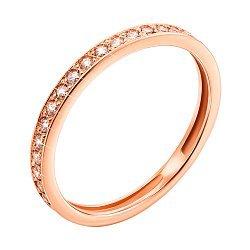 Кольцо из красного золота Лунная дорожка с фианитами