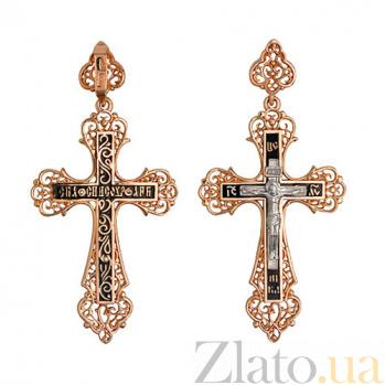 Золотой крест с ювелирной эмалью Моя душа VLT--КЭ3М3655