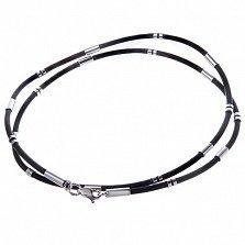 Каучуковый шнурок Средний Трайб с серебряными вставками и застежкой
