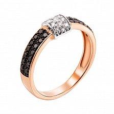 Кольцо в красном золоте Дина с черными и белыми бриллиантами