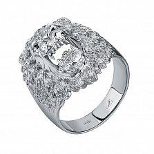 Серебряный родированный перстень Львиный оскал с черными фианитами