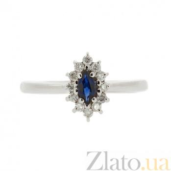 Золотое кольцо в белом цвете с сапфиром и бриллиантами Джасинта ZMX--RS-9040w_K