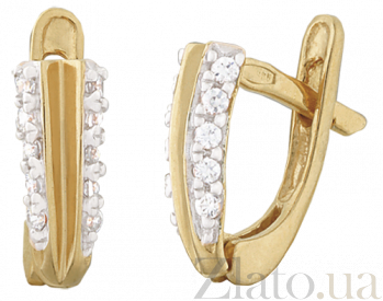 Серебряные сережки с позолотой и цирконием Айри SLX--С3Ф/060
