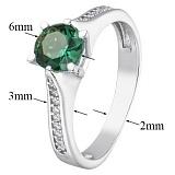 Серебряное кольцо с зелёным кварцем и фианитами Флавия