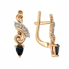 Золотые серьги с бриллиантами и сапфирами Генриетта