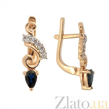 Золотые серьги с бриллиантами и сапфирами Генриетта 000021929