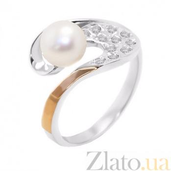 Серебряное кольцо с жемчугом и золотой вставкой Поэма BGS--003к