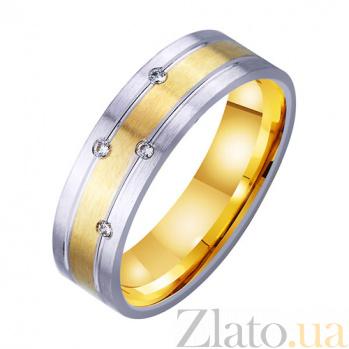 Золотое обручальное кольцо Райская любовь с фианитами TRF--4521750