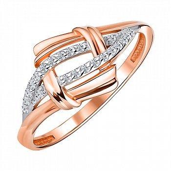 Золоте кільце в комбінованому кольорі з фіанітами 000147949