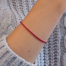 Красный шелковый крученый браслет Модерн с серебряной узорной застежкой, 3мм